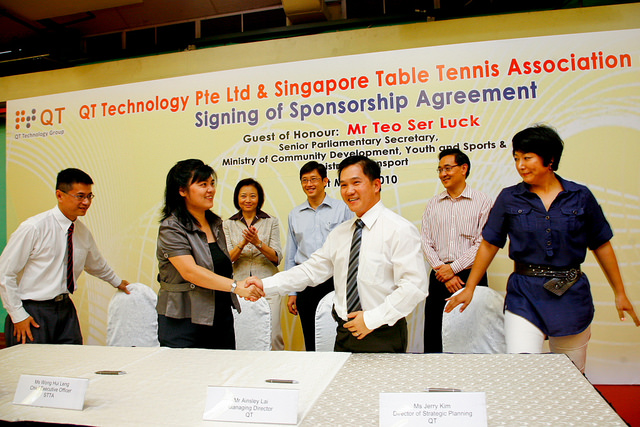 QT Technology Pte Ltd (QT) Signs Three Year Sponsorship Deal With The Singapore Table Tennis Association (STTA)