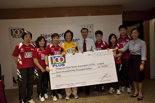 100PLUS Proudly Sponsors the Singapore National Table Tennis Teams