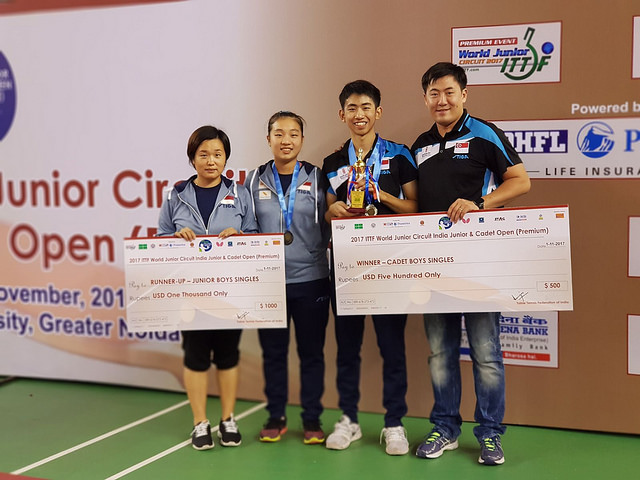 Singapore Youth Paddler – Koen Pang won the Cadet Singles and finished second in the Junior Singles at the ITTF India Junior & Cadet Open, Greater Nodia, IND, 28 October 2017 to 1 November 2017
