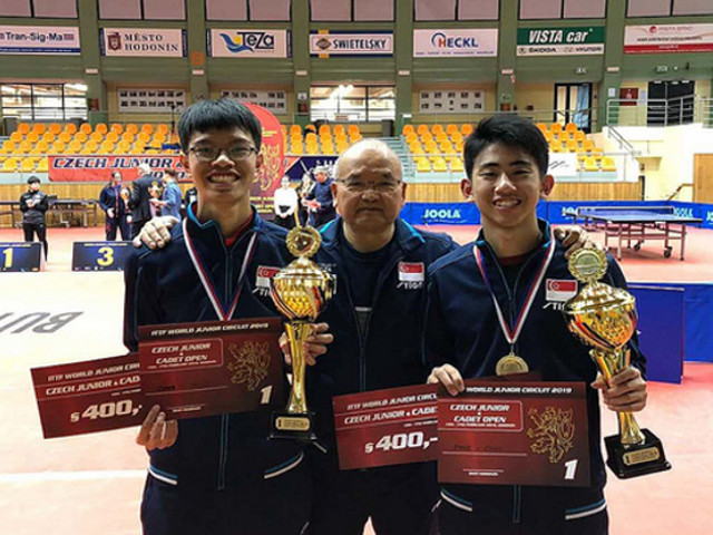 National paddlers, Koen Pang and Josh Chua won the Junior Boys' Doubles title at the 2019 ITTF Junior Circuit Premium, Czech Junior & Cadet Open, 13 to 17 February 2019.