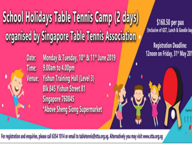 June Holidays Table Tennis Camp (2 days) by Singapore Table Tennis Association