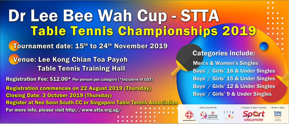 Registration for Dr Lee Bee Wah Cup – STTA Table Tennis Championships is open!