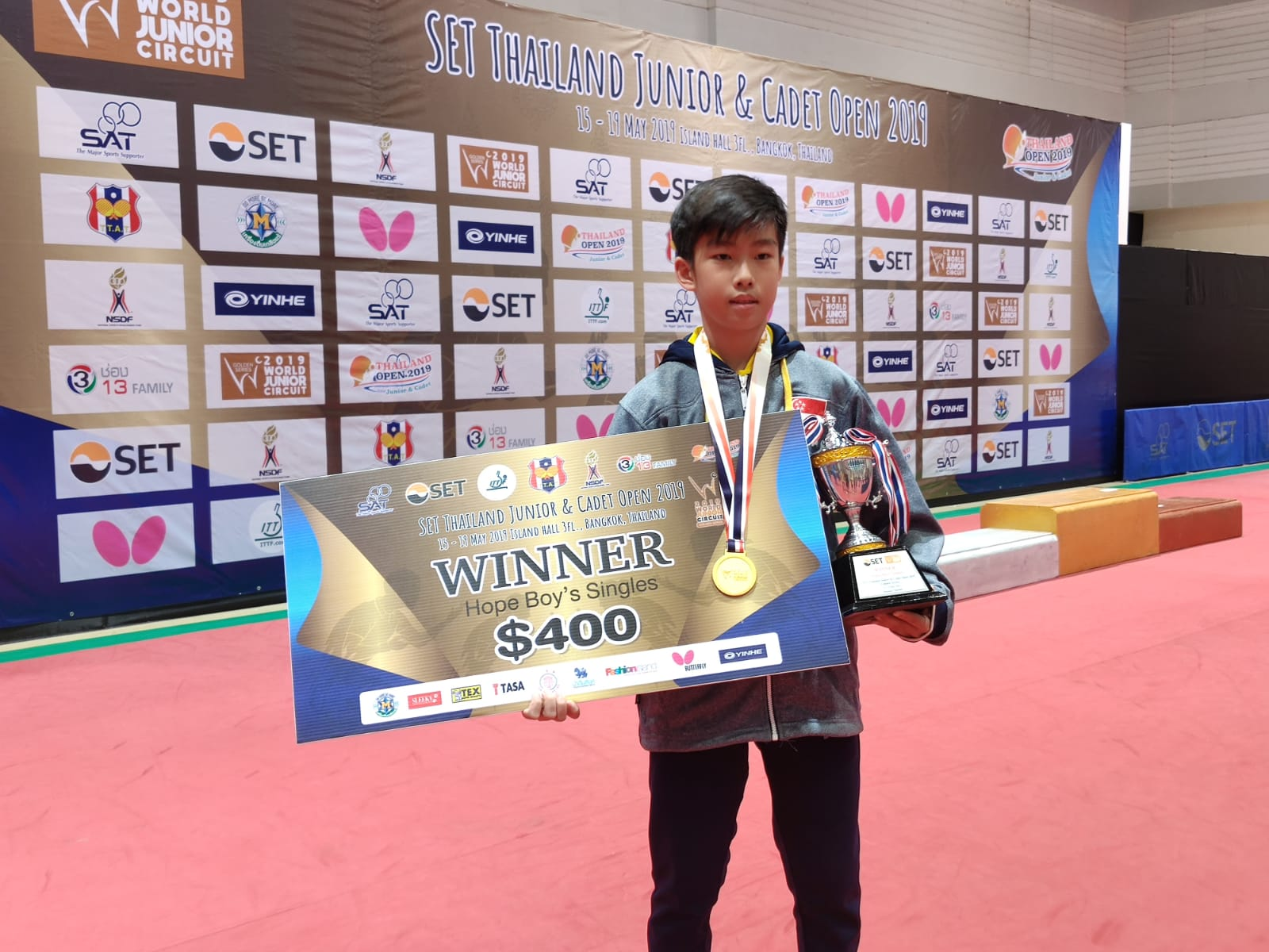 Singapore finished with 1 gold, 2 silvers and 1 bronze at the 2019 ITTF Junior Circuit Golden, SET Thailand Junior & Cadet Open, 15 to 19 May 2019