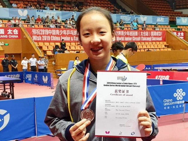 Ser Lin Qian wins silver medal at the China Junior & Cadet Open – ITTF Golden Series World Junior Circuit (Taicang), 12 to 16 June 2019