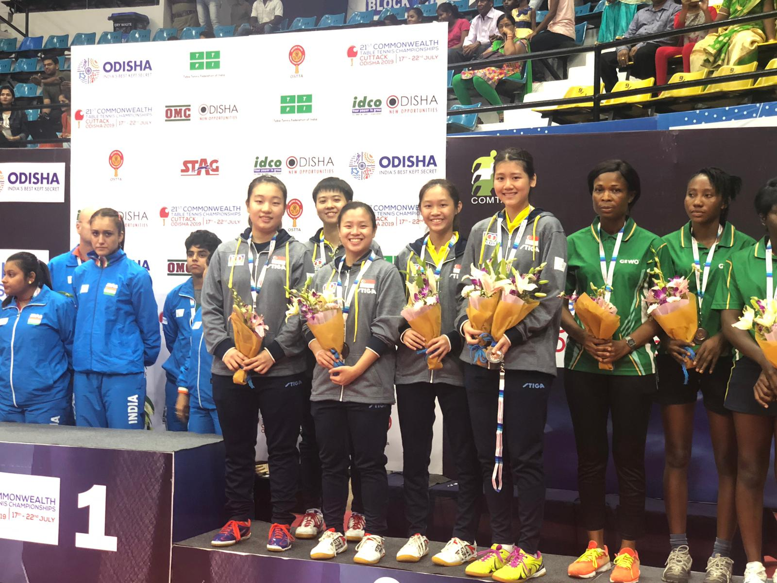 Team Singapore scored 2 bronzes at the 21st Commonwealth Table Tennis Championships