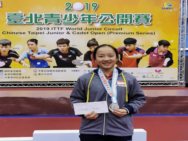 Ser Lin Qian bagged a singles silver at the 2019 ITTF Junior Circuit Premium, Chinese Taipei Junior & Cadet Open, 25 to 29 September 2019