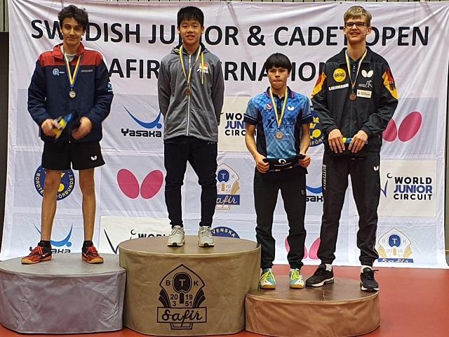 Table Tennis: Izaac Quek scored his first Cadet Singles title at the ITTF World Junior Circuit, Swedish Junior & Cadet Open, 19 to 23 February 2020